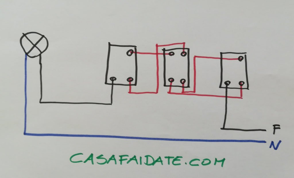 Schema Elettrico Per 4 Punti Luce : Accendere la luce da tre punti invertitori deviatori e rele
